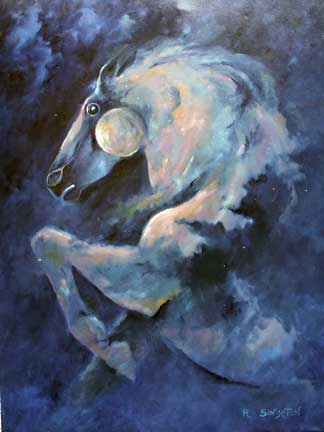 Galactic Stallion Oil Painting