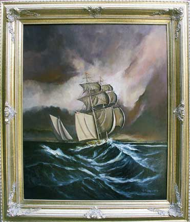 Under Full Sail Oil Painting Photo